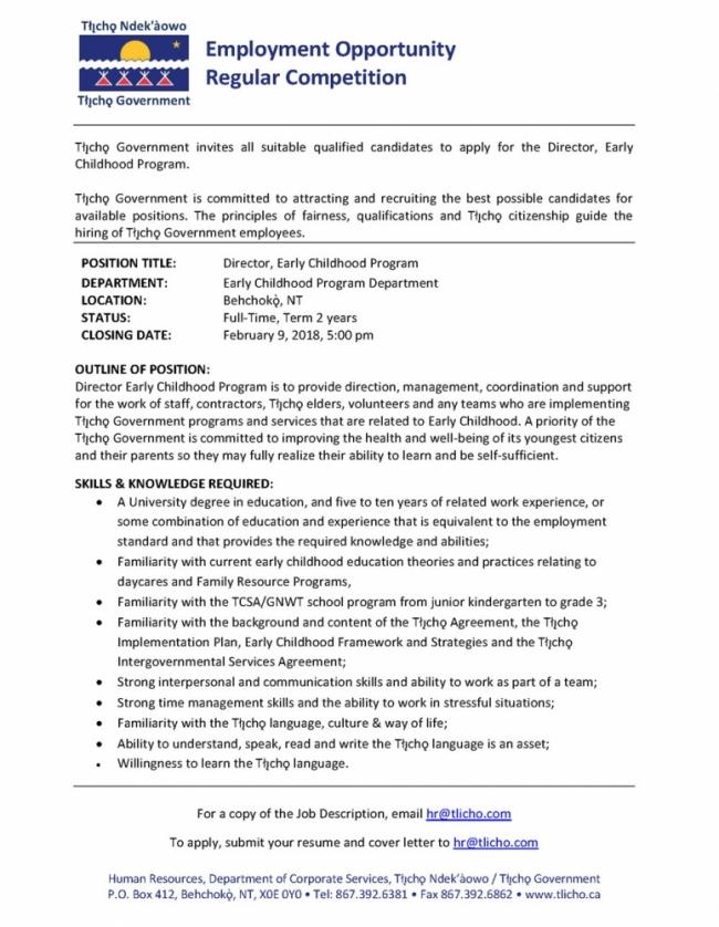 Employment Opportunity Early Childhood Program Director Tlicho