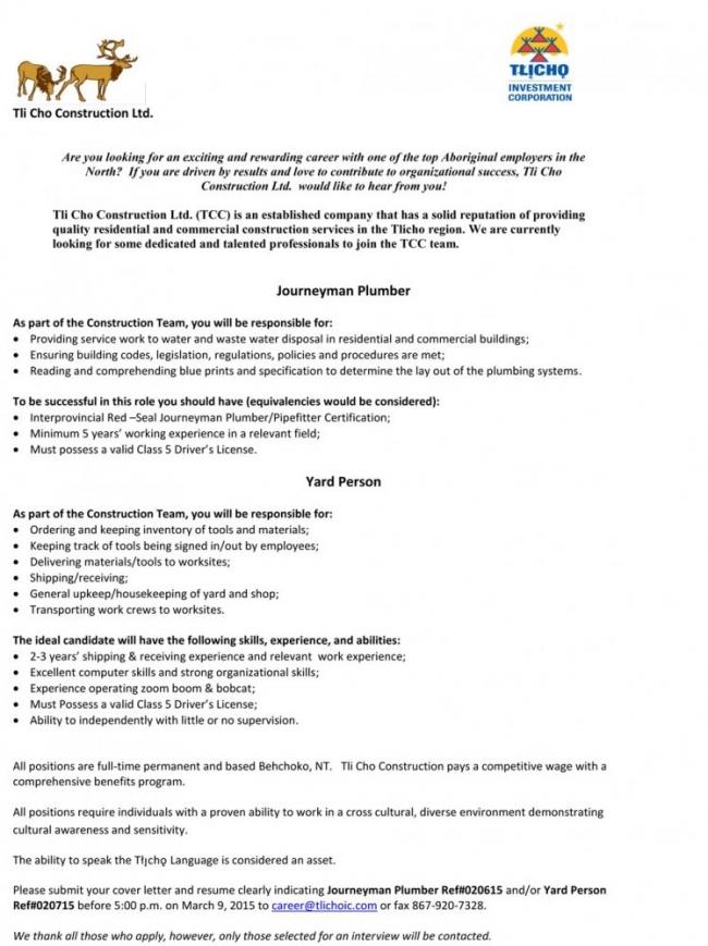 Employment Opportunity - Journeyman Plumber | Tlicho